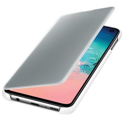 Capa Protetora Samsung Clear View Standing para Galaxy S10e, Branca - EF-ZG970CWEG