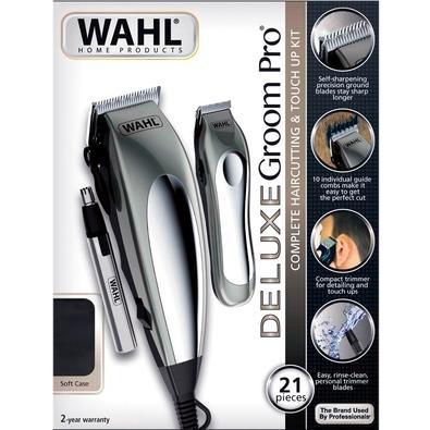 Máquina de Corte Wahl Clipper Deluxe Groom Pro Profissional, Sem Fio, 10 Pentes, Prata, 110V - 79305-3655