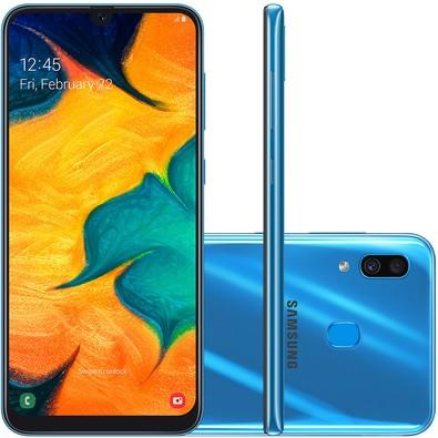 Smartphone Samsung Galaxy A30, 64GB, 16MP, Tela 6.4´, Azul - SM-A305GT/6DL