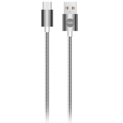 Cabo Micro USB Dazz 91cm, Metal Entrelaçado, Cinza - 6013667