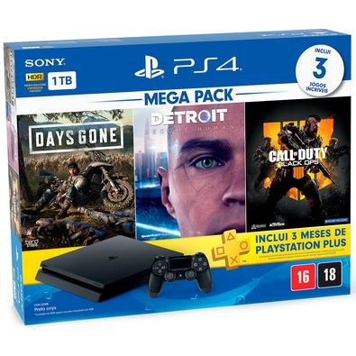 Console Sony PlayStation 4 Hits Bundle 5.1 1TB - Days Gone + Detroit Become Human + Call of Duty Black Ops 4 - CUH-2214B