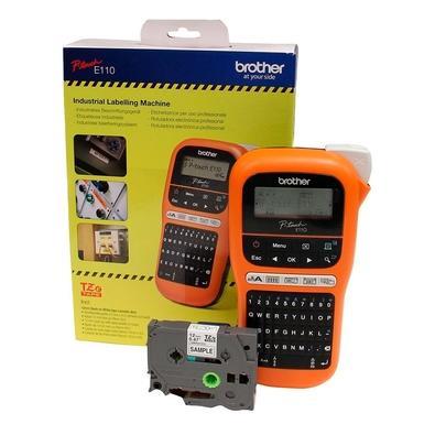 Rotulador Eletrônico Brother Portátil, Cortador Manual, Laranja e Preto - PTE110