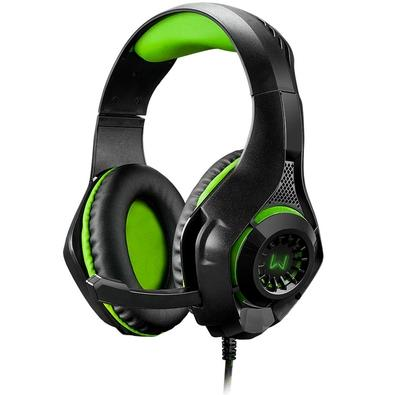 Headset Gamer Warrior Rama, LED Verde - PH299