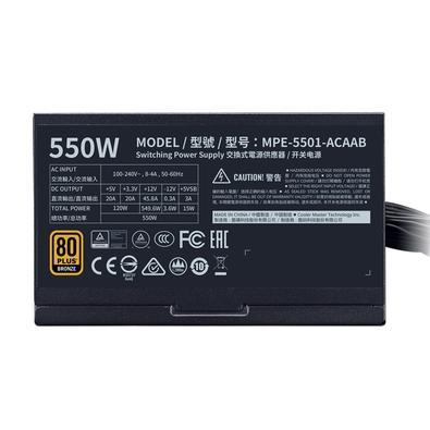 Fonte Cooler Master MWE Bronze V2 550W, 80 Plus Bronze - MPE-5501-ACAAB-BR