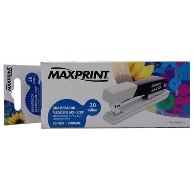 Grampeador Metálico Maxprint MX-G20P, 26/6 e 24/6, 20 folhas, Preto/Branco -  715643