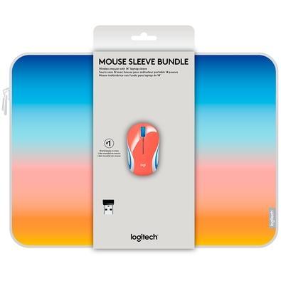 Combo Mouse Sem Fio Mini Logitech M187 Com Capa Para Notebook 14´ Coral