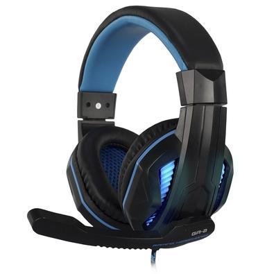 Headset Gamer Hoopson, LED Azul, Drivers 40mm, Preto/Azul - GA-02