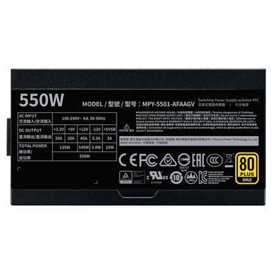 Fonte Cooler Master V550 Gold, 550W, 80 Plus Gold, Full Modular - MPY-5501-AFAAGV-WO