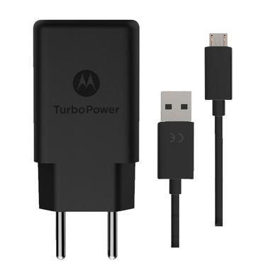 Carregador de Tomada Motorola Turbo Power, 1 Porta USB, Cabo Micro USB-USB, Preto - SJSC57WS1