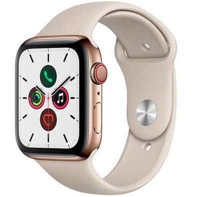 Apple Watch Series 5, GPS + Cellular, 44mm, Dourado, Pulseira Cinza - MWWH2BZ/A