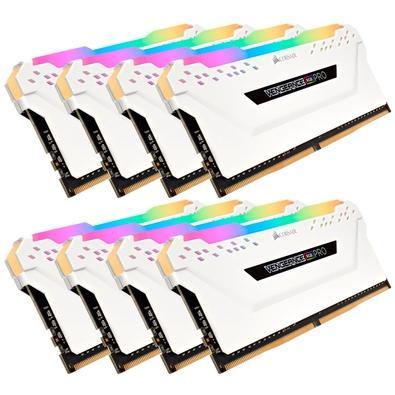 Memória Corsair Vengeance RGB Pro 64GB (8x8GB) 3600MHz DDR4 C18 White - CMW64GX4M8X3600C18W