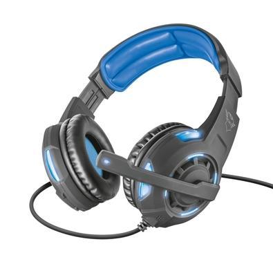 Headset Gamer Trust GXT 350 Radius, LED, 7.1 Som Surround, Drivers 40mm, Preto/Azul - 22052