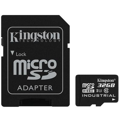 Cartão de Memória Kingston Industrial Temperature MicroSD 32GB Classe U1 com Adaptador, Suporta Temperaturas Extremas - SDCIT/32GB
