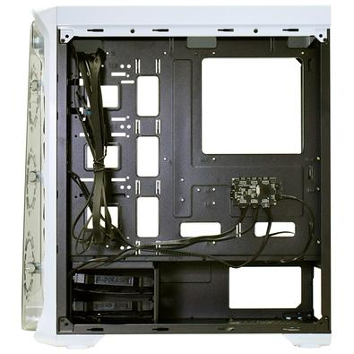 Gabinete Gamer K-mex White Trooper, Mid Tower, RGB, com FAN, Lateral em Acrílico, Branco - CG02B1RH0020B0X