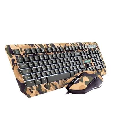 Kit Gamer Warrior Kyler - Teclado, LED Branco, ABNT2 + Mouse, LED, Army - TC249
