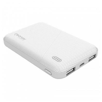 Carregador Portátil Geonav Essential, 5000mAh, 2 USB, Branco - ES5KWT