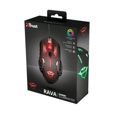 Mouse Gamer Trust GXT 108 Rava Illuminated, LED, 6 Botões, 2000DPI - 22090