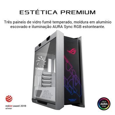 Gabinete Gamer ASUS ROG Strix Helios, Mid Tower, RGB, com Fan, Lateral e Frontal em Vidro, White Edition - 90DC0023-B30000