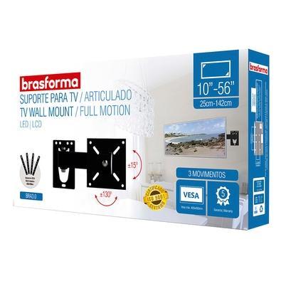 Suporte Articulado Brasforma com Inclinação, Para TV LED, LCD, Plasma, 3D e Smart TV 10´ a 56´ - BRA 3.0