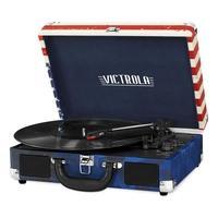 Toca Discos Victrola Mini System Portátil, Bluetooth, Gravador Bandeira Americana - VSC-550BT-USA