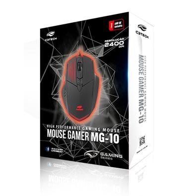 Mouse Gamer C3 Tech MG-10BK, 6 Botões, 2400DPI - MG-10BK