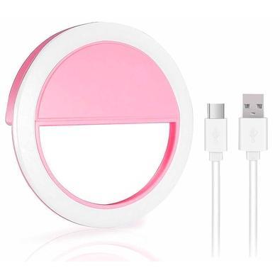 Clip de LED MD9 Luz Selfie LT-575, 85mm, 3 Níveis, Rosa - 9205