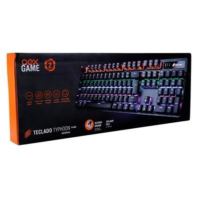 Teclado Gamer Mecânico OEX Game Typhoon, LED Rainbow, Switch Outemu Brown, Anti-Ghosting, ABNT2, Preto - TC 606