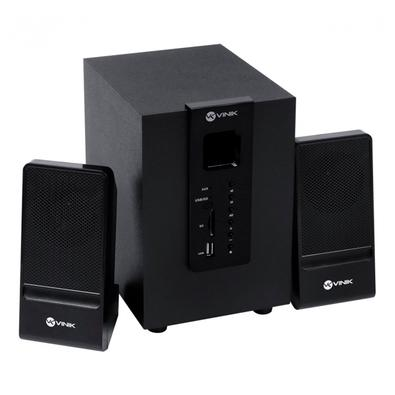 Caixa de Som Vinik 2.1 Groove CXGRO20W Subwoofer com 2x Auto Falantes, Bluetooth 5.0, 20W, Conexão Auxiliar P2, Madeira/Preto - 34858