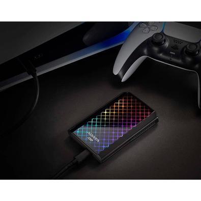 SSD Externo Adata SE900G 512GB, USB 3.2 Tipo C, com Painel RGB, Preto - ASE900G-512GU32G2-CBK