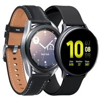 Smartwatch Samsung Galaxy Watch 3, Mystic Silver + Smartwatch Samsung Galaxy Watch Active 2, Preto