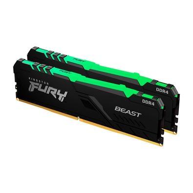 Memória Kingston Fury Beast, RGB, 16GB (2x8GB), 3733MHz, DDR4, CL19, Preto - KF437C19BBAK2/16