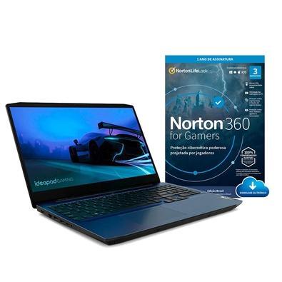 Kit Notebook Gamer Lenovo Intel Core i7,GTX 1650 4GB, 8GB, 512GB SSD, 15.6´, Win10H + Norton Antivírus 360 Gamer- 3 PCs - Digital para download