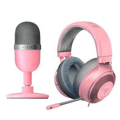 Kit Headset Gamer Razer Kraken Multi Platform + Microfone Razer Seiren Mini Quartz Pink