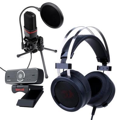 Kit Streamer Headset Gamer Redragon Scylla H901 + Microfone Streamer Gamer Redragon GM100 + Webcam Redragon Streaming Hitman, Full HD