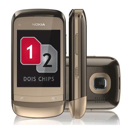 Celular Nokia C2-06 64mb Dourado - Dual Chip
