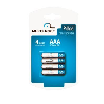 Multilaser  Pack c/ 4 Pilhas AAA Recarregáveis 1000 mAh CB050
