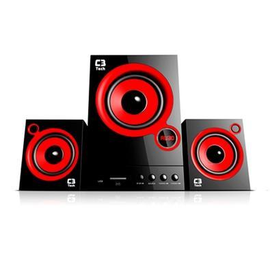 Caixa de Som C3 Tech Speaker 2.1 31W RMS Preta/Vermelha - SP-105UM