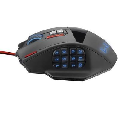 Mouse Gamer Warrior 4000DPI 18 botões Preto com LED - MO206