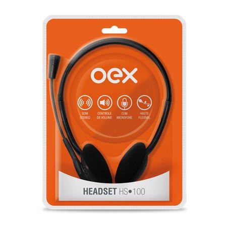 Headset Oex Stéreo com Microfone HS-100 Preto