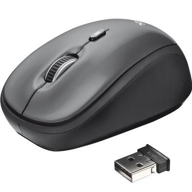 Mouse Sem Fio Trust Yvi Wireless 2.4GHz, 1600DPI, Micro USB, Preto + Pilhas - 18519