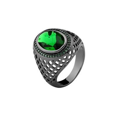 Anel Oval Verde Esmeralda com Micro Zircônias Verdes Tamanho 22 - MT082