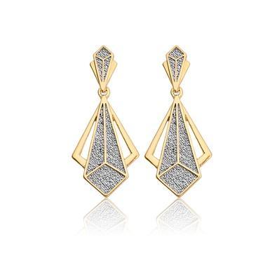 Brinco Arabesco Triangular com Ouro Branco - BKD0161