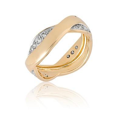 Anel Dourado Curve com Zircônias e Ouro Branco Tamanho 20 - ANZ0533