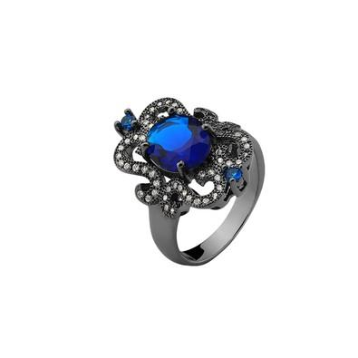 Anel Clássico Azul Zafira com Zircônias Brancas e Azuis Tamanho 18 - MT102