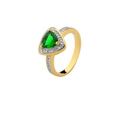Anel Triangular Verde Esmeralda com Micro Zircônias Tamanho 16 - ZY-T112-White
