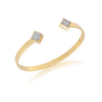 Bracelete com Strass e Ouro Branco - BC0480