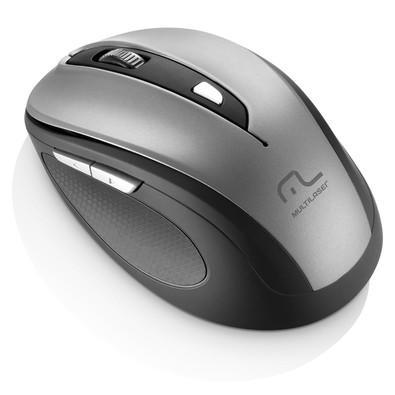 Mouse Sem Fio Multilaser 1600DPI 2.4Ghz Preto e Cinza - MO238