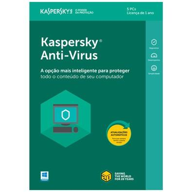 Kaspersky Antivírus 2018 5 PCs - Digital para Download