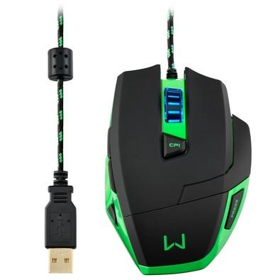 Mouse Gamer Warrior 3200DPI 6 botões Preto e Verde com LED Azul - MO245