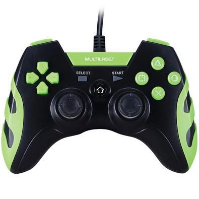 Controle Warrior Dualshock Preto/Verde PS3/PS2/PC JS081